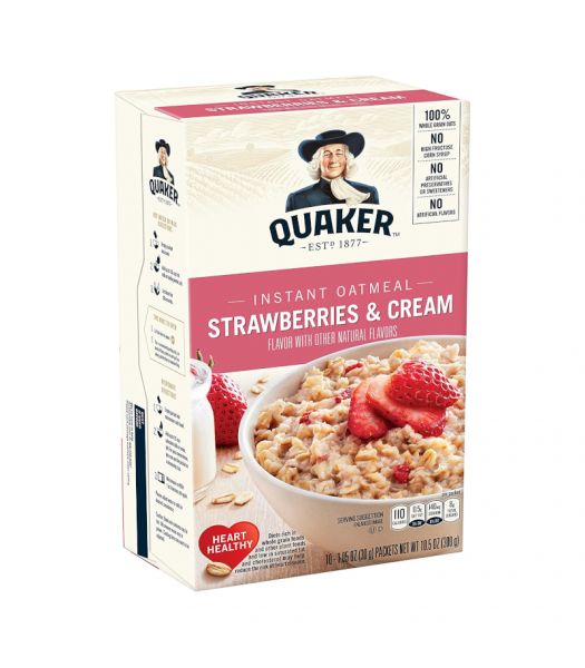 Quaker Instant Oatmeal Strawberries & Cream - 10.5oz (300g) Food and Groceries Quaker