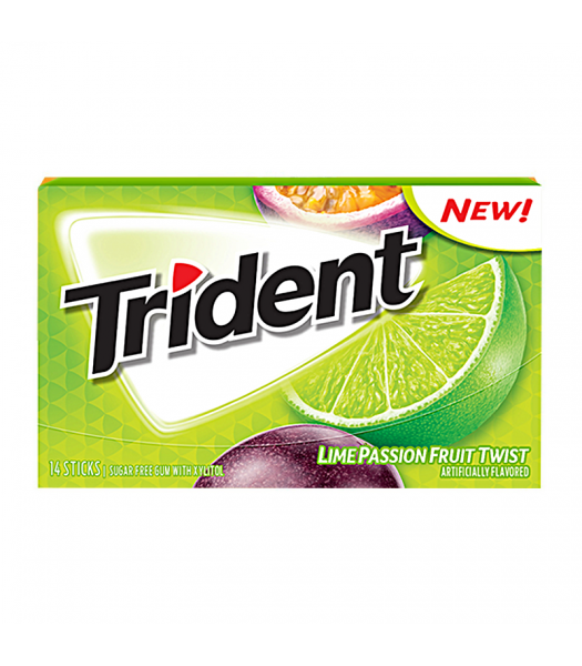 Trident Lime Passion Fruit Twist 14pc Sweets and Candy Trident
