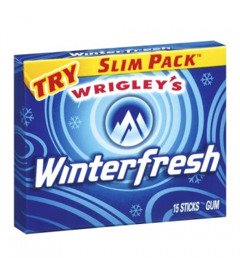 Wrigley's Winterfresh Chewing Gum 15-Piece Slim Pack Bubble Gum Wrigley's
