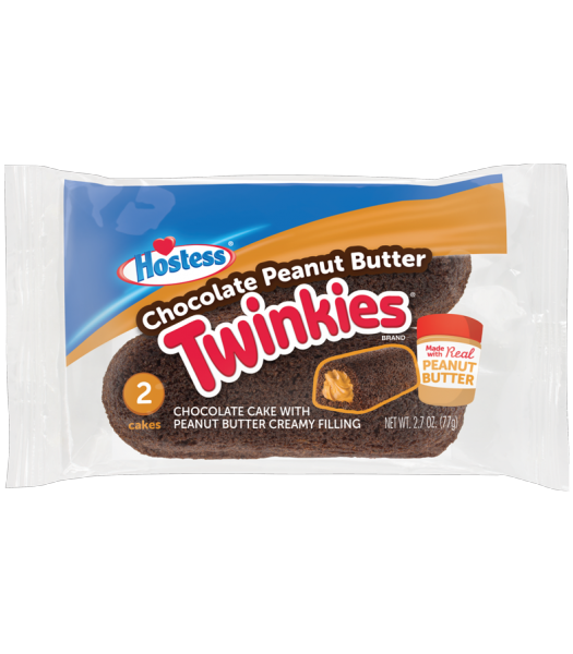 Hostess Chocolate Peanut Butter Twinkies - Twin Pack - 2.7oz (77g) Cookies and Cakes Hostess