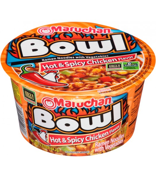 Maruchan - Hot & Spicy Chicken Flavor - Ramen Noodles & Vegetables Bowl - 3.3oz (94g) Food and Groceries Maruchan