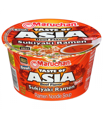 Maruchan Taste of Asia Beef Flavour Sukiyaki Ramen Noodle Soup Bowl - 3.66oz (104g) Food and Groceries Maruchan