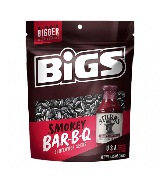BIGS Sunflower Seeds - Stubb's Smokey Sweet Bar-B-Q - 5.35oz (152g) Snacks and Chips