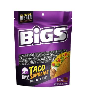 BIGS Sunflower Seeds Taco Bell Supreme 5.35oz (152g) Snacks and Chips