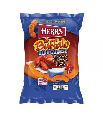 Herr's Cheese Curls - Buffalo Blue Cheese Flavour Puffs - 7oz (199g) Crisps & Chips Herr's