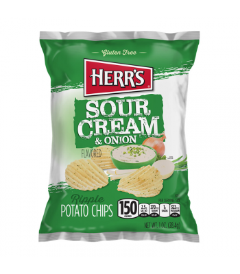 Herr's Sour Cream & Onion Ripples Potato Chips - 1oz (28.4g) Snacks and Chips Herr's