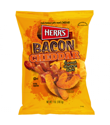 Herr's Cheese Curls - Bacon Cheddar Cheese Flavour Puffs - 7oz (198g)