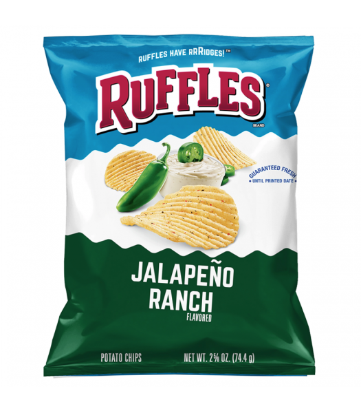Ruffles Jalapeno Ranch Potato Chips 6.5oz (184g)  Snacks and Chips Ruffles