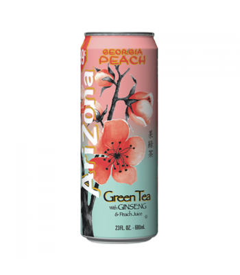 AriZona Green Tea with Ginseng and Georgia Peach 23.5oz (695ml) Iced Tea Arizona