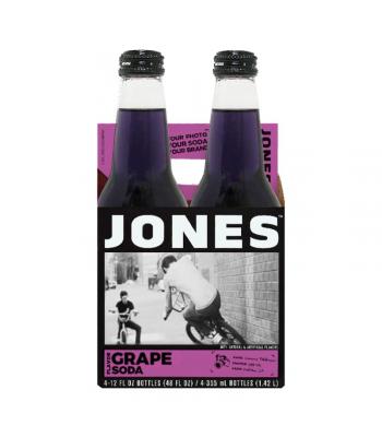 Jones Soda - Grape Soda - 12fl.oz (355ml) - 4 Pack Soda and Drinks Jones Soda