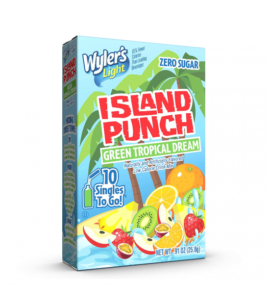 Wyler's Light Singles To Go Island Punch Green Tropical Dream 10-Pack - 0.91oz (25.8g) Soda and Drinks