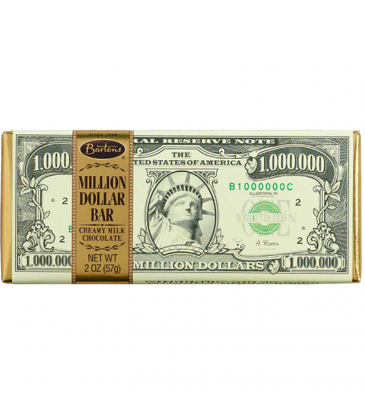 Bartons Million Dollar Milk Chocolate Bar 2oz (57g)