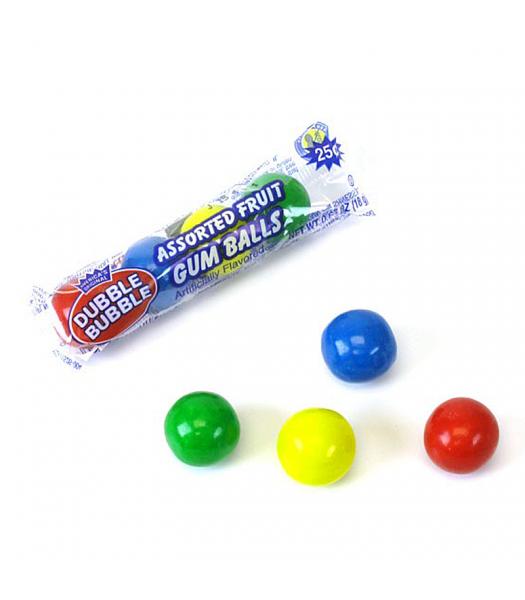 Dubble Bubble Assorted Fruit Gum Balls 4-Pack 0.65oz (18g) Bubble Gum Dubble Bubble