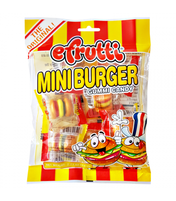 E.Frutti Gummi Candy Mini Burgers Peg Bag 2.22oz (63g) Soft Candy