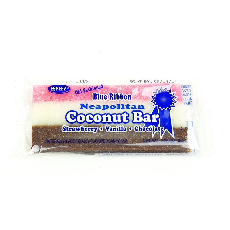 Espeez Blue Ribbon Neapolitan Strawberry Vanilla Chocolate Coconut Bar 225oz 64g