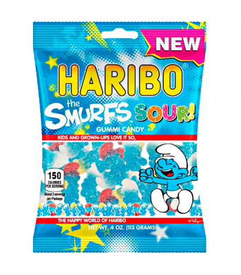 Haribo Sour Smurfs Peg Bag 4oz (113g) Soft Candy