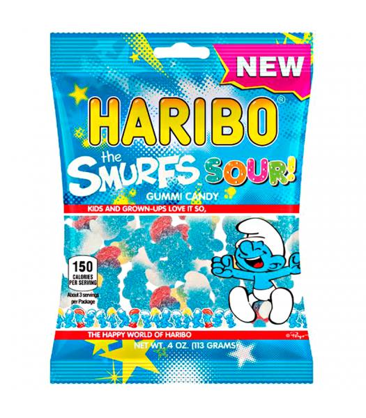 Haribo Sour Smurfs Peg Bag 4oz (113g) Sweets and Candy Haribo