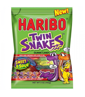 Haribo - Sweet & Sour Twin Snakes - 5oz (142g) Sweets and Candy