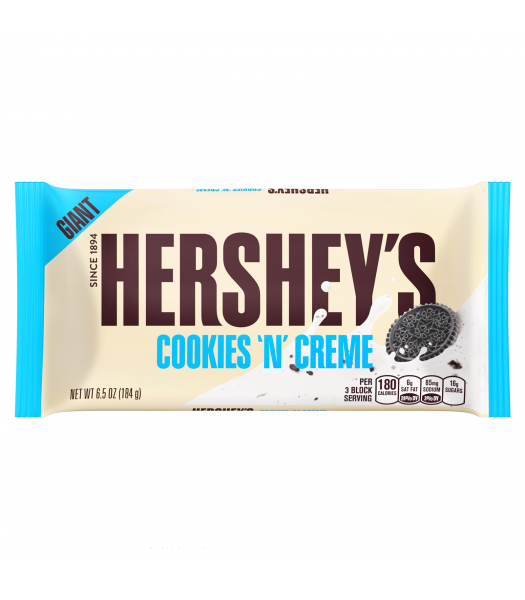 Hershey's GIANT Cookies and Creme Chocolate Bar 6.5oz (184g) Sweets and Candy Hershey's