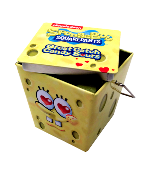 SpongeBob Great Catch Hearts Sours 1.5oz  (43g) Tin Novelty Candy