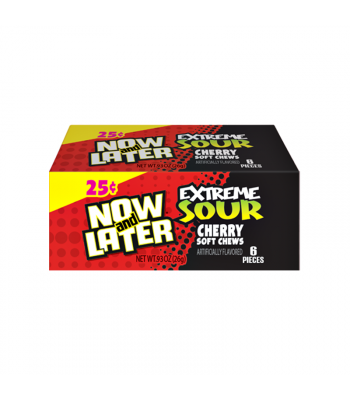 Now & Later 6 Piece EXTREME SOUR Cherry Candy 0.93oz (26g) Soft Candy Now & Later