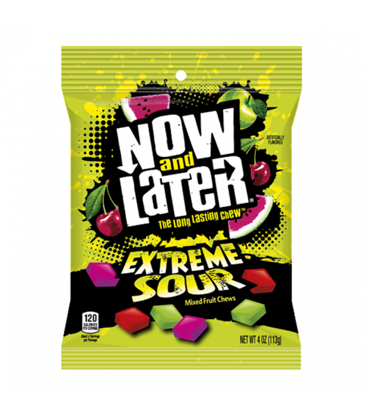 Now & Later Extreme Sour Fruit Chews - 4oz (113g) Sweets and Candy Now & Later