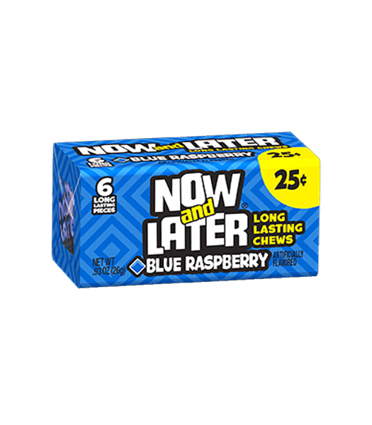 Now & Later 6 Piece Blue Raspberry Candy 0.93oz (26g) Soft Candy Now & Later