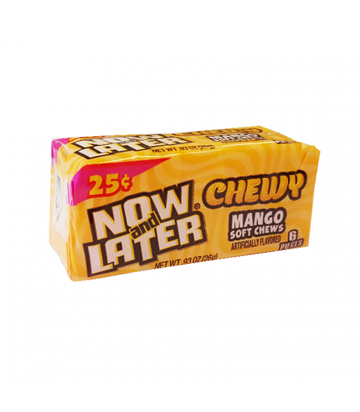 Now & Later 6 Piece CHEWY Mango Fruit Chews 0.93oz (26g) Sweets and Candy Now & Later