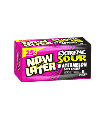 Now & Later 6 Piece EXTREME SOUR Watermelon Candy 0.93oz (26g)