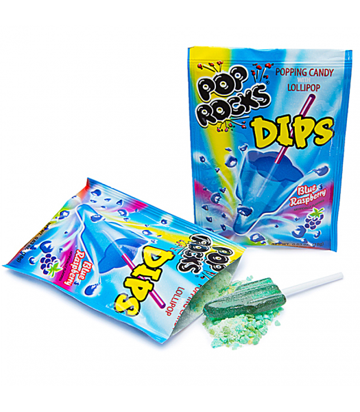 Pop Rocks Dips - Sour Blue Raspberry 0.63oz (18g) Sweets and Candy Pop Rocks