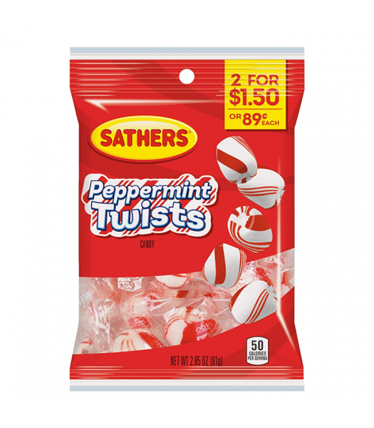 Sathers Peppermint Twists - 2.85oz (81g) Sweets and Candy Sathers