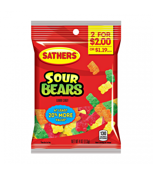 Sathers Sour Gummi Bears 3oz (85g) Sweets and Candy Sathers