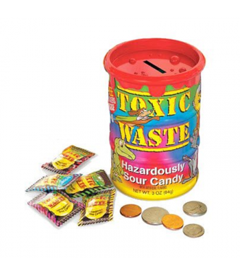 Toxic Waste Tye-Dye Barrel - Coin Bank With Candy - 3oz (84g) Sweets and Candy