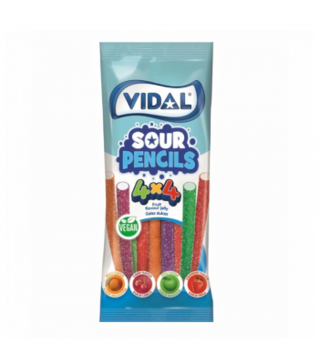 Vidal Vegan Sour Pencils - 3.5oz (100g) Sweets and Candy Vidal