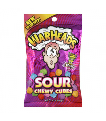 Warheads Sour Chewy Cubes Peg Bag - 8oz (226g)  Sweets and Candy Warheads