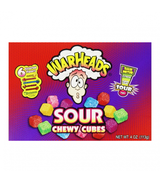 Warheads Sour Chewy Cubes Theater Box 4oz (113g) Soft Candy Warheads