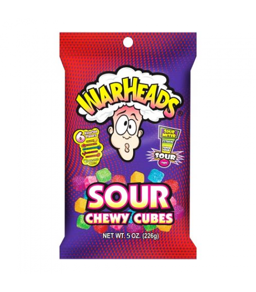 Warheads - Sour Chewy Cubes Peg Bag - 5oz (141g) Sweets and Candy Warheads