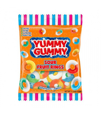 Yummy Gummy Sour Fruit Rings - 5.3oz (150g) Sweets and Candy