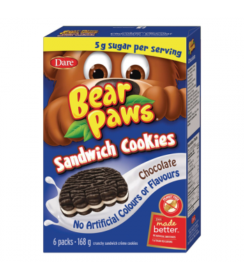 Dare - Bear Paws Sandwich Cookies - Chocolate - 6-Pack (168g) [Canadian]