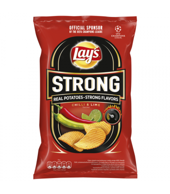 Lay's Strong Chilli & Lime Flavoured Crinkle Cut Potato Crisps - 130g Snacks and Chips Frito-Lay